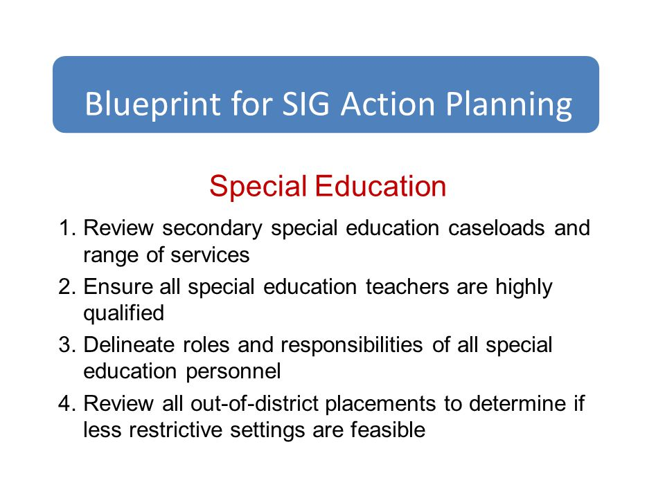 Special Education 1.Review secondary special education caseloads and range of services 2.Ensure all special education teachers are highly qualified 3.Delineate roles and responsibilities of all special education personnel 4.Review all out-of-district placements to determine if less restrictive settings are feasible Blueprint for SIG Action Planning