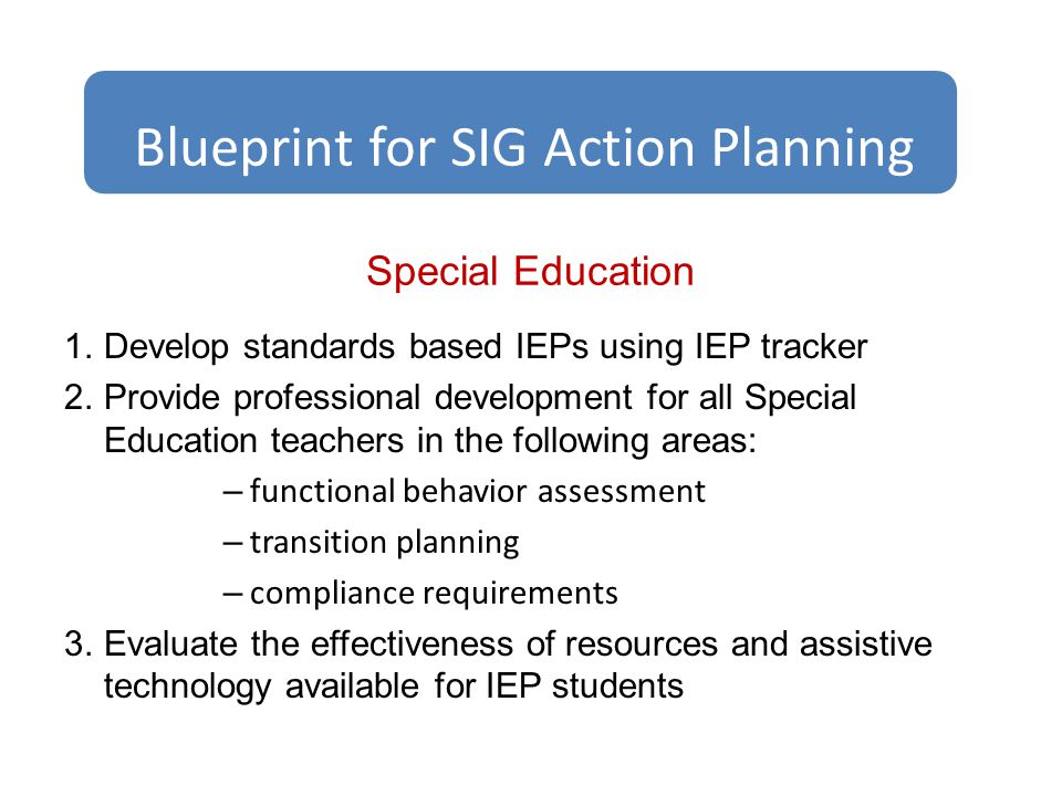 Special Education 1.Develop standards based IEPs using IEP tracker 2.Provide professional development for all Special Education teachers in the following areas: – functional behavior assessment – transition planning – compliance requirements 3.Evaluate the effectiveness of resources and assistive technology available for IEP students Blueprint for SIG Action Planning