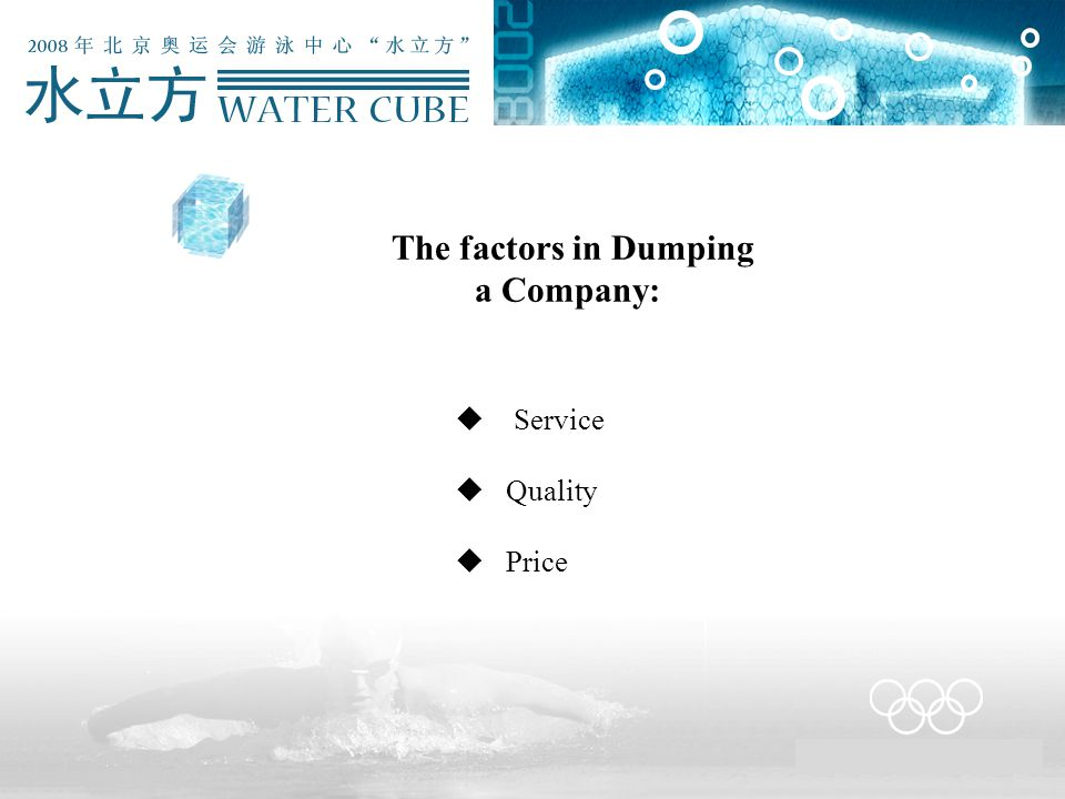 The factors in Dumping a Company:  Service  Quality  Price