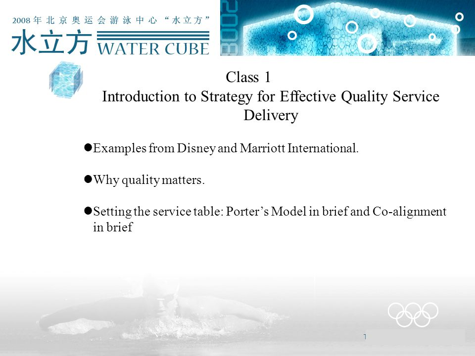 Class 1 Introduction to Strategy for Effective Quality Service Delivery Examples from Disney and Marriott International. Why quality matters. Setting