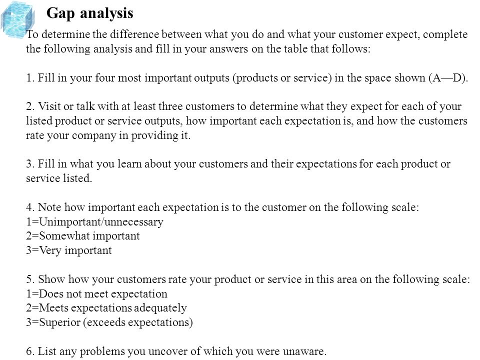 Gap analysis To determine the difference between what you do and what your customer expect, complete the following analysis and fill in your answers o