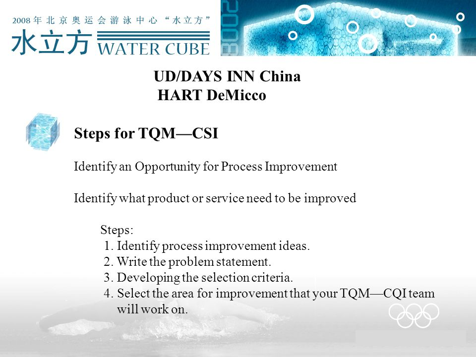 UD/DAYS INN China HART DeMicco Steps for TQM—CSI Identify an Opportunity for Process Improvement Identify what product or service need to be improved