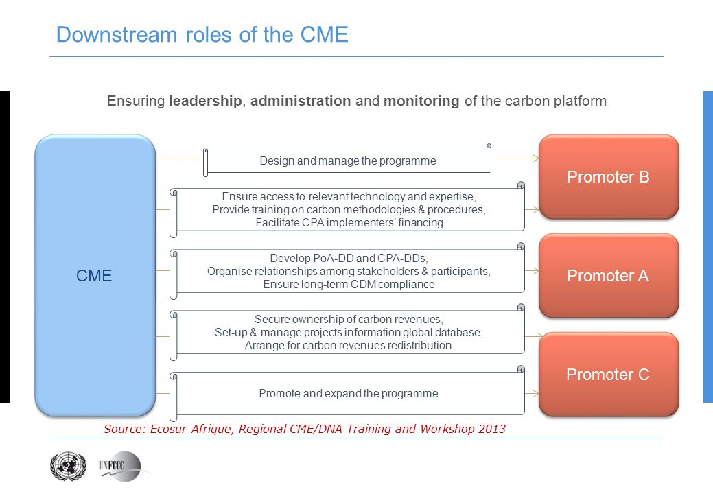 Downstream roles of the CME CME Ensuring leadership, administration and monitoring of the carbon platform Promoter A Promoter B Promoter C Design and manage the programme Ensure access to relevant technology and expertise, Provide training on carbon methodologies & procedures, Facilitate CPA implementers' financing Develop PoA-DD and CPA-DDs, Organise relationships among stakeholders & participants, Ensure long-term CDM compliance Secure ownership of carbon revenues, Set-up & manage projects information global database, Arrange for carbon revenues redistribution Promote and expand the programme Source: Ecosur Afrique, Regional CME/DNA Training and Workshop 2013