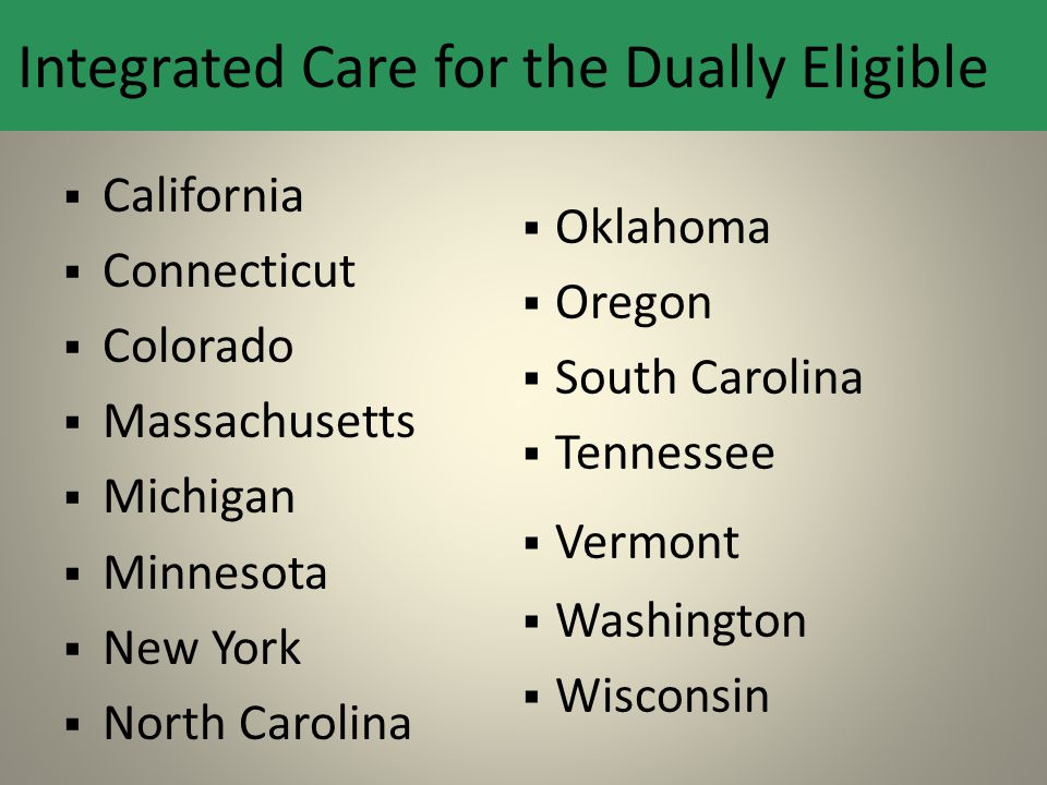 Integrated Care for the Dually Eligible  California  Connecticut  Colorado  Massachusetts  Michigan  Minnesota  New York  North Carolina  Okl