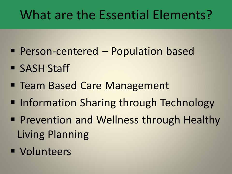 What are the Essential Elements?  Person-centered – Population based  SASH Staff  Team Based Care Management  Information Sharing through Technolo
