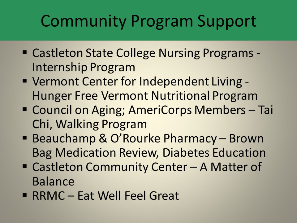 Castleton State College Nursing Programs - Internship Program  Vermont Center for Independent Living - Hunger Free Vermont Nutritional Program  Co