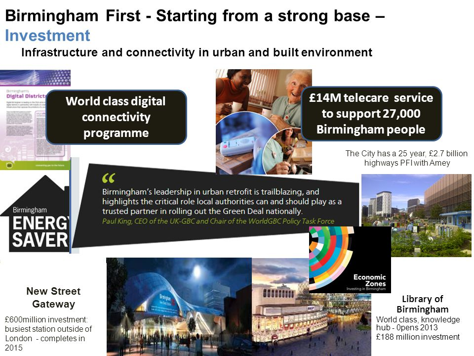 Birmingham First - Starting from a strong base – Investment Infrastructure and connectivity in urban and built environment New Street Gateway £600million investment: busiest station outside of London - completes in 2015 Library of Birmingham World class, knowledge hub - 0pens 2013 £188 million investment The City has a 25 year, £2.7 billion highways PFI with Amey World class digital connectivity programme £14M telecare service to support 27,000 Birmingham people