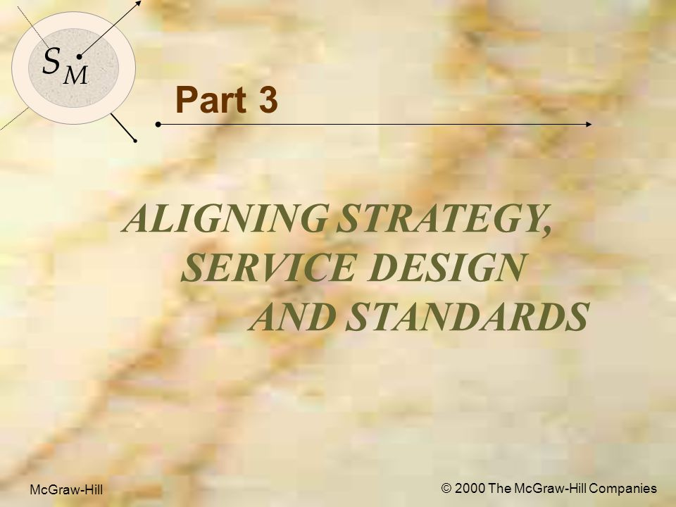 McGraw-Hill© 2000 The McGraw-Hill Companies 1 S M S M McGraw-Hill © 2000 The McGraw-Hill Companies Part 3 ALIGNING STRATEGY, SERVICE DESIGN AND STANDARDS