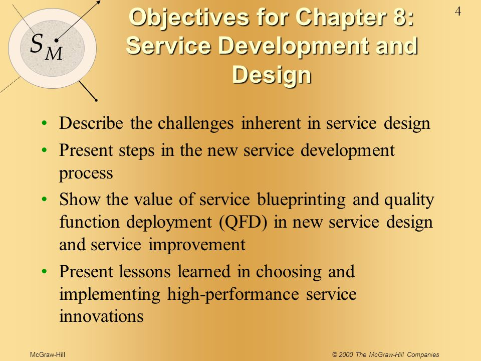 McGraw-Hill© 2000 The McGraw-Hill Companies 4 S M Objectives for Chapter 8: Service Development and Design Describe the challenges inherent in service