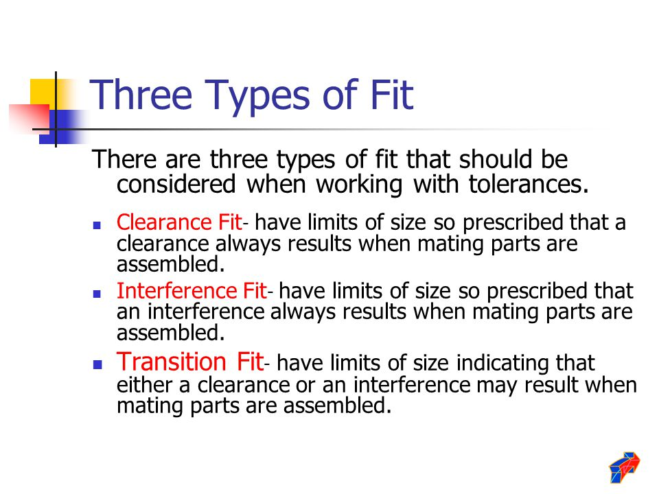 Three Types of Fit There are three types of fit that should be considered when working with tolerances. Clearance Fit - have limits of size so prescri