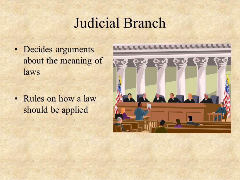 Judicial Branch Decides arguments about the meaning of laws Rules on how a law should be applied