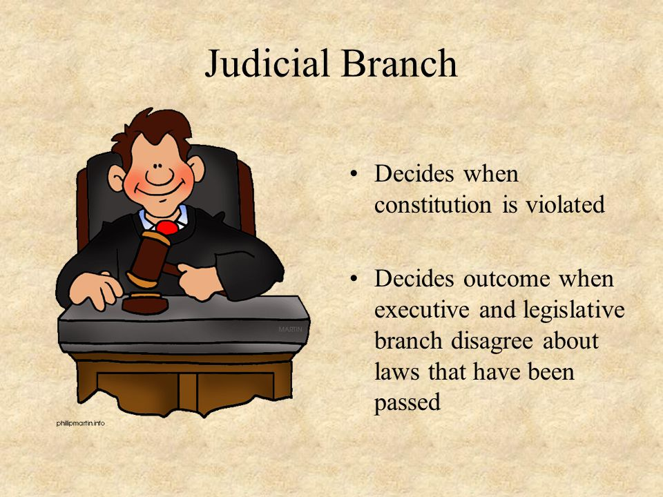 Judicial Branch Decides when constitution is violated Decides outcome when executive and legislative branch disagree about laws that have been passed