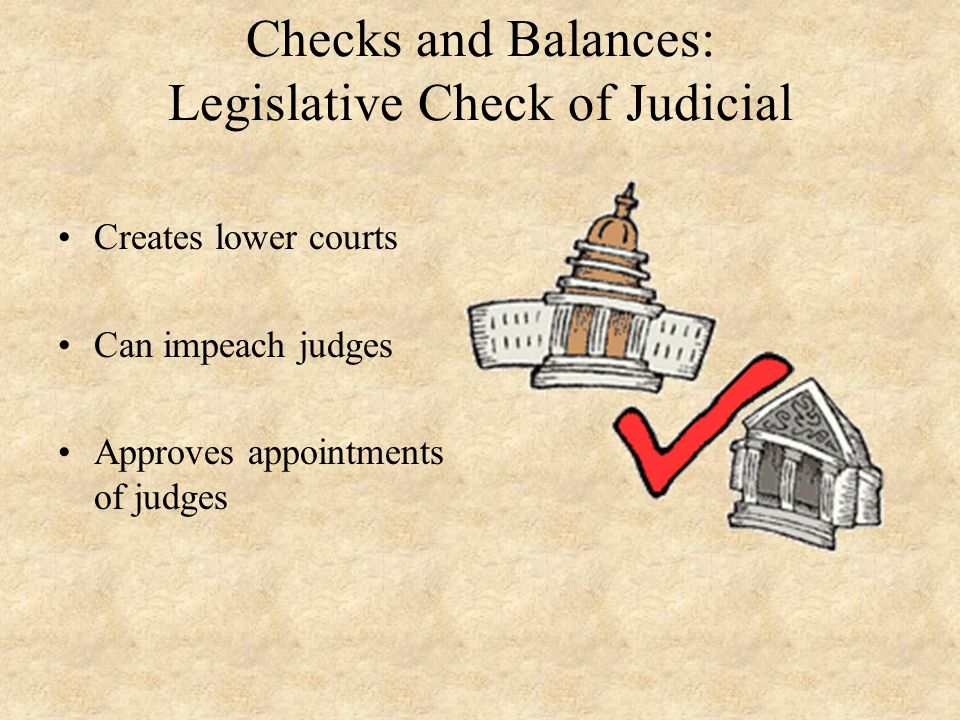 Checks and Balances: Legislative Check of Judicial Creates lower courts Can impeach judges Approves appointments of judges