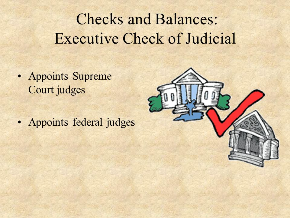 Checks and Balances: Executive Check of Judicial Appoints Supreme Court judges Appoints federal judges
