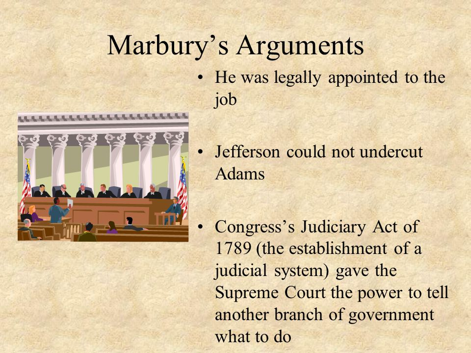 Marbury's Arguments He was legally appointed to the job Jefferson could not undercut Adams Congress's Judiciary Act of 1789 (the establishment of a ju