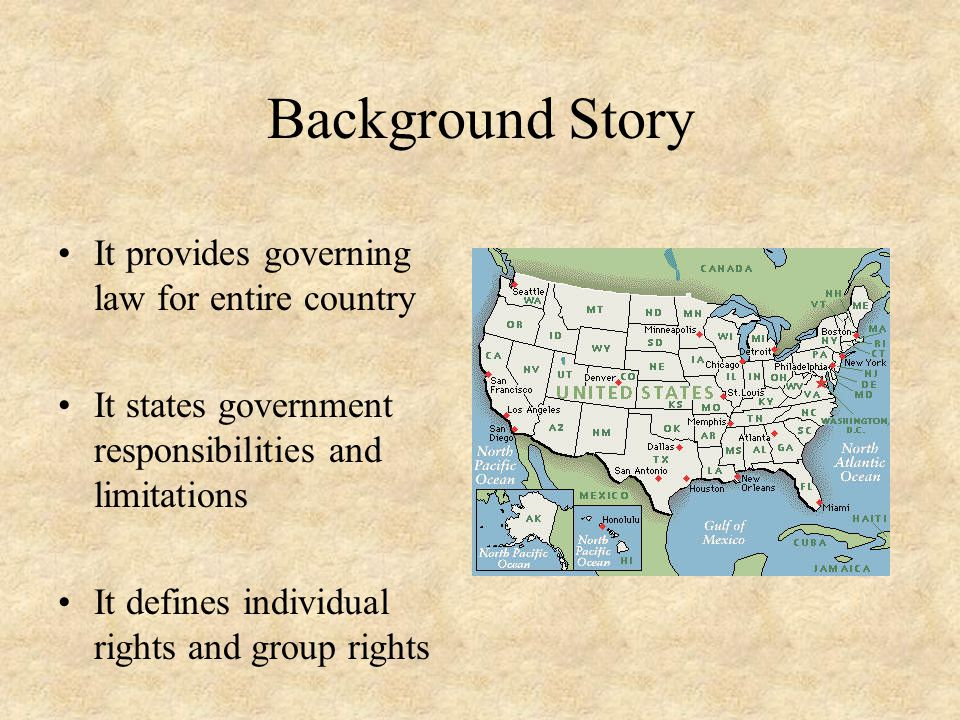Background Story It provides governing law for entire country It states government responsibilities and limitations It defines individual rights and g