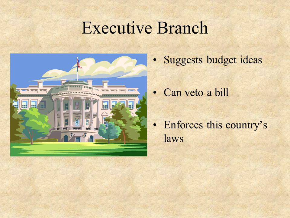 Executive Branch Suggests budget ideas Can veto a bill Enforces this country's laws