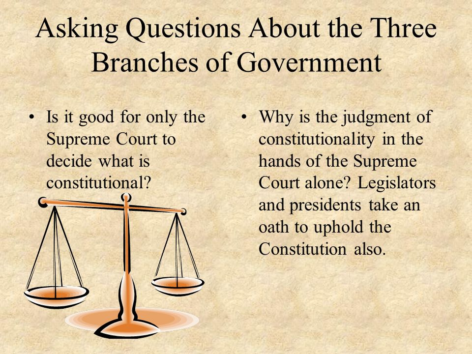 Asking Questions About the Three Branches of Government Is it good for only the Supreme Court to decide what is constitutional? Why is the judgment of