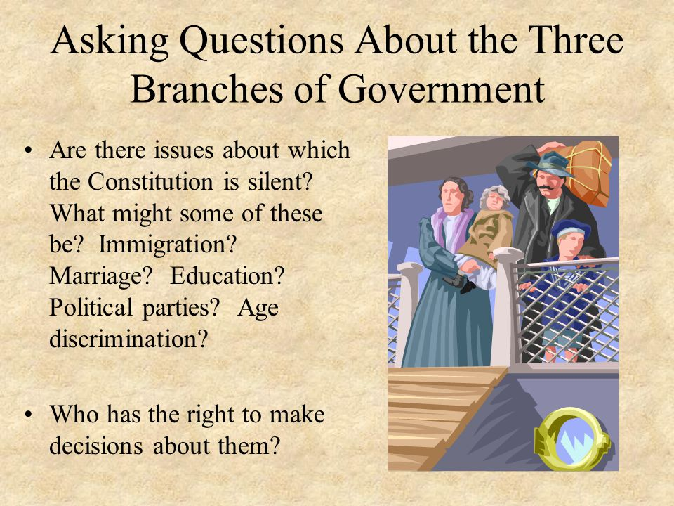 Asking Questions About the Three Branches of Government Are there issues about which the Constitution is silent? What might some of these be? Immigrat