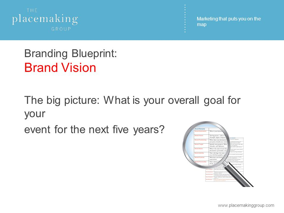 ………… Branding Blueprint: Brand Vision The big picture: What is your overall goal for your event for the next five years.