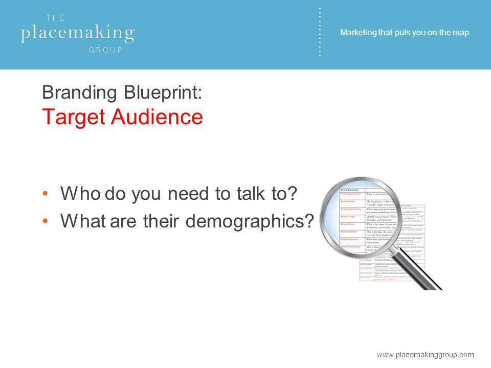 ………… Branding Blueprint: Target Audience Who do you need to talk to.