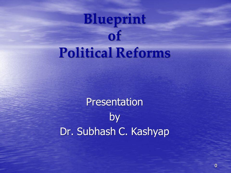 Blueprint of Political Reforms Presentationby Dr. Subhash C. Kashyap 0