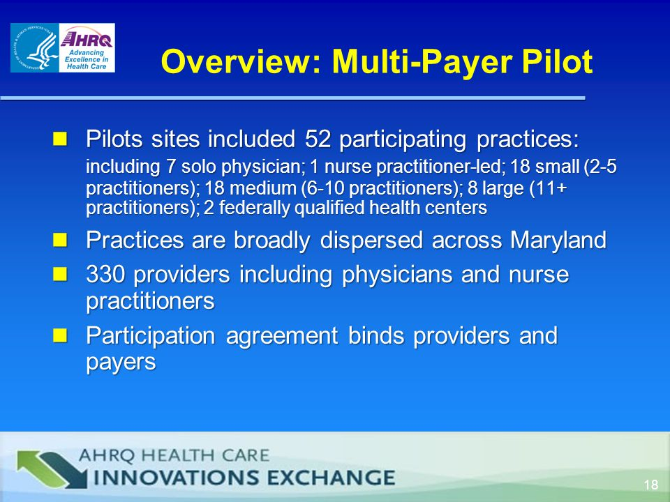 Overview: Multi-Payer Pilot Pilots sites included 52 participating practices: including 7 solo physician; 1 nurse practitioner-led; 18 small (2-5 practitioners); 18 medium (6-10 practitioners); 8 large (11+ practitioners); 2 federally qualified health centers Pilots sites included 52 participating practices: including 7 solo physician; 1 nurse practitioner-led; 18 small (2-5 practitioners); 18 medium (6-10 practitioners); 8 large (11+ practitioners); 2 federally qualified health centers Practices are broadly dispersed across Maryland Practices are broadly dispersed across Maryland 330 providers including physicians and nurse practitioners 330 providers including physicians and nurse practitioners Participation agreement binds providers and payers Participation agreement binds providers and payers 18