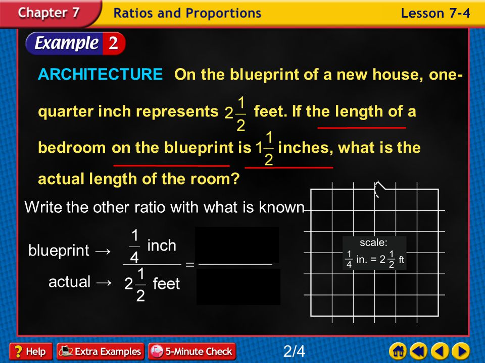 Example 4-2a ARCHITECTURE On the blueprint of a new house, one- quarter inch represents feet. If the length of a bedroom on the blueprint is inches, w