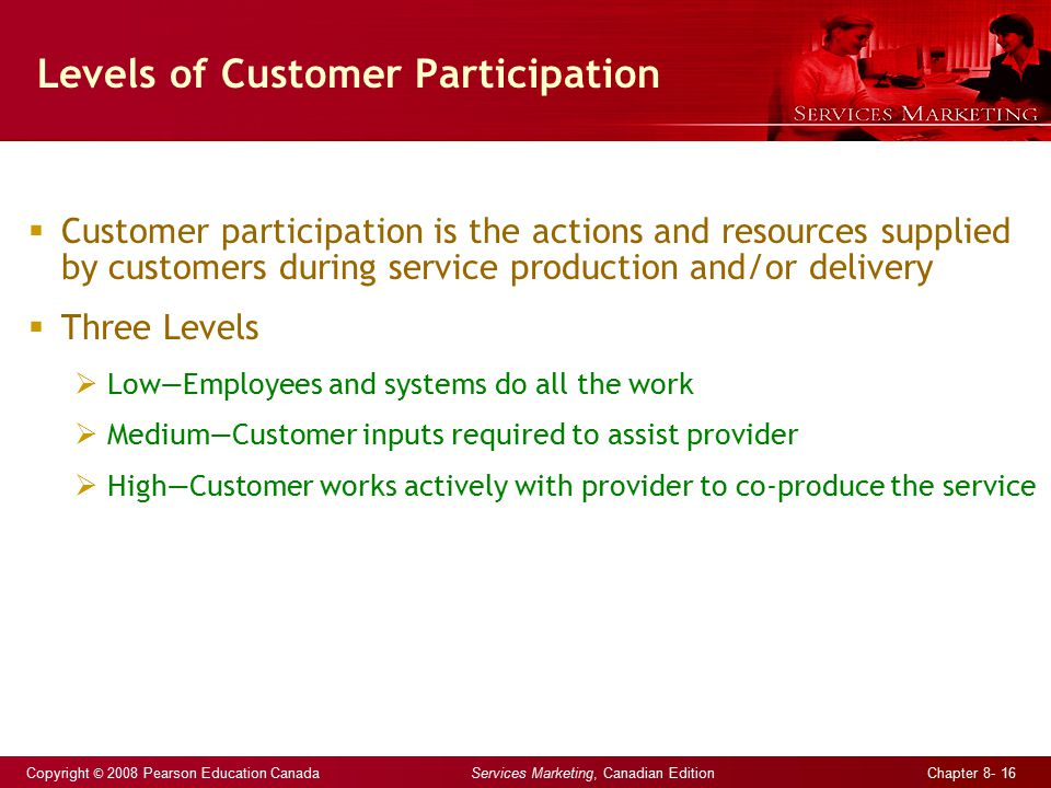 Copyright © 2008 Pearson Education Canada Services Marketing, Canadian Edition Chapter 8- 16 Levels of Customer Participation  Customer participation