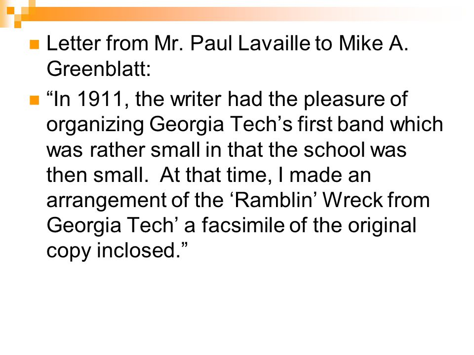 Letter from Mr. Paul Lavaille to Mike A.
