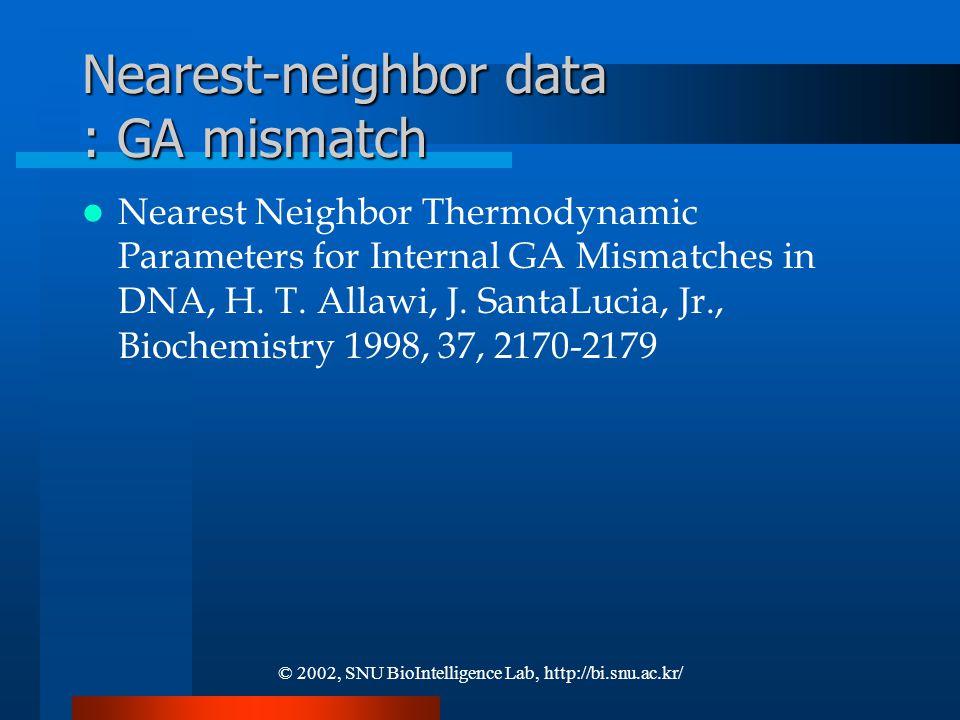 © 2002, SNU BioIntelligence Lab, http://bi.snu.ac.kr/ Nearest-neighbor data : GA mismatch Nearest Neighbor Thermodynamic Parameters for Internal GA Mismatches in DNA, H.