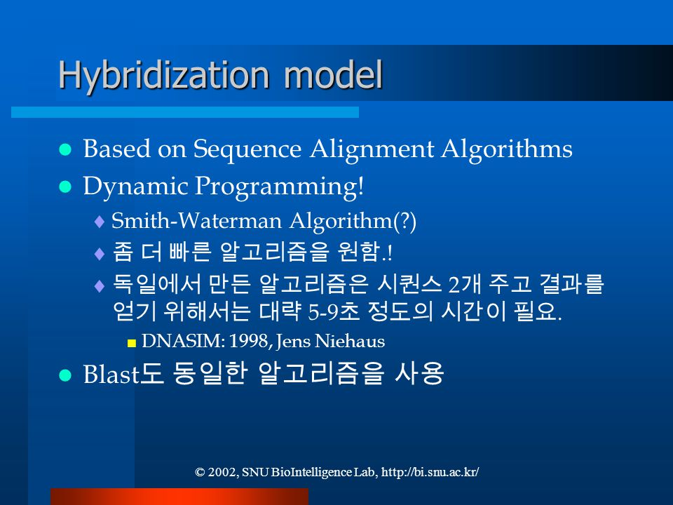 © 2002, SNU BioIntelligence Lab, http://bi.snu.ac.kr/ Hybridization model Based on Sequence Alignment Algorithms Dynamic Programming.