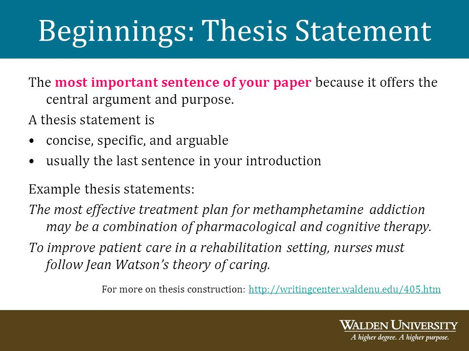 university writing center thesis statement