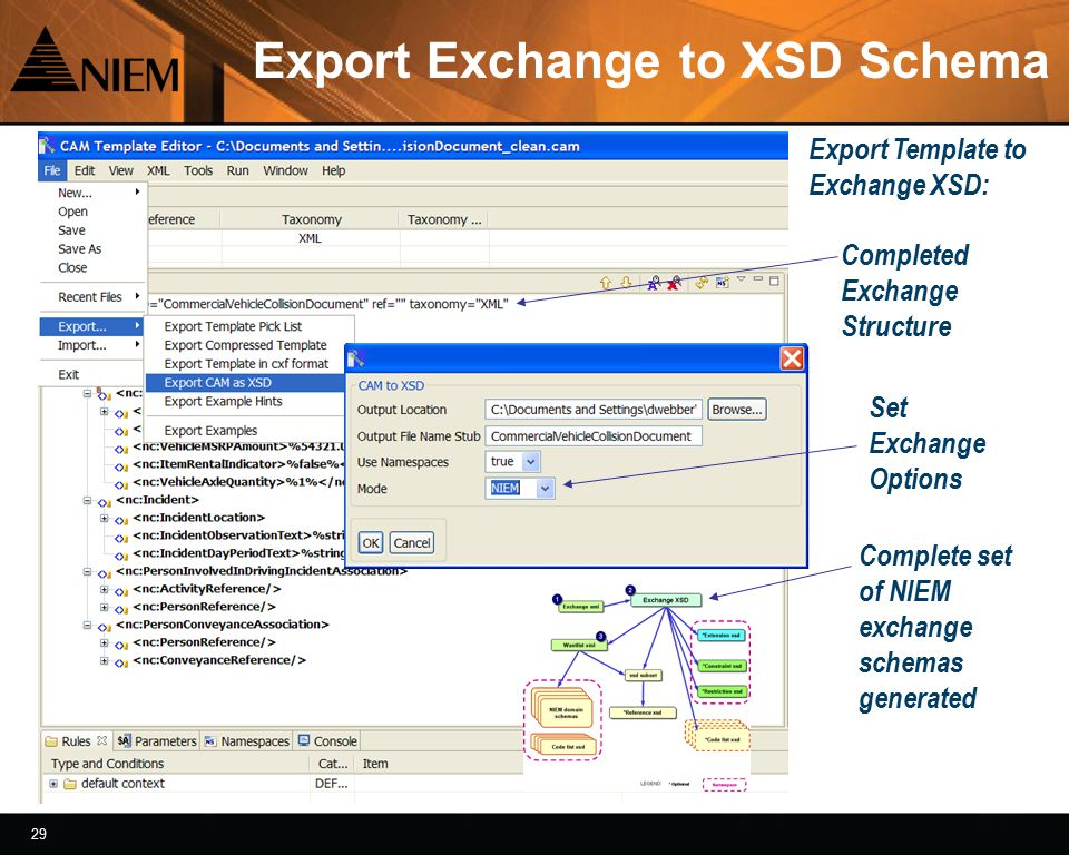 30 Exchange Schema Generated Each namespace file is import for those specific type definitions Reviewing XSD results in a schema editor tool Set of XSD files with filename and namespace suffix
