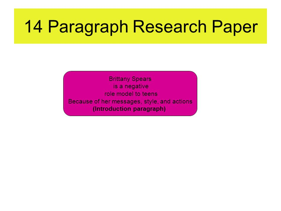 14 Paragraph Research Paper Brittany Spears is a negative role model to teens Because of her messages, style, and actions (Introduction paragraph)