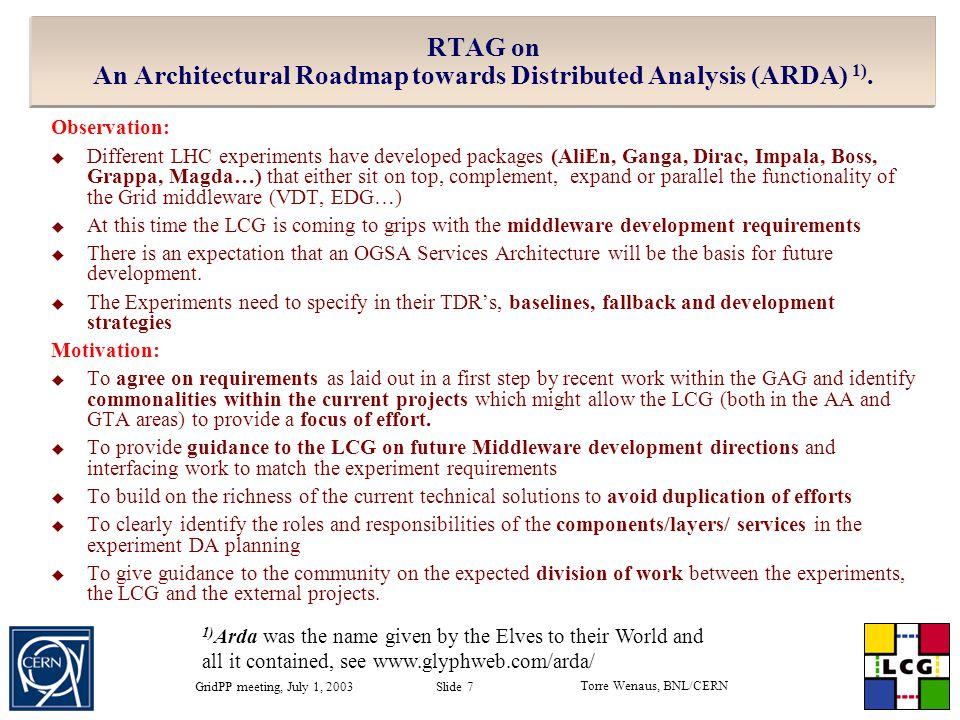 Torre Wenaus, BNL/CERN GridPP meeting, July 1, 2003 Slide 7 RTAG on An Architectural Roadmap towards Distributed Analysis (ARDA) 1).