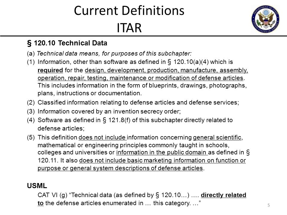 5 § 120.10 Technical Data (a) Technical data means, for purposes of this subchapter: (1) Information, other than software as defined in § 120.10(a)(4) which is required for the design, development, production, manufacture, assembly, operation, repair, testing, maintenance or modification of defense articles.