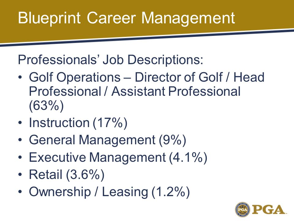 Blueprint Career Management Professionals' Job Descriptions: Golf Operations – Director of Golf / Head Professional / Assistant Professional (63%) Instruction (17%) General Management (9%) Executive Management (4.1%) Retail (3.6%) Ownership / Leasing (1.2%)