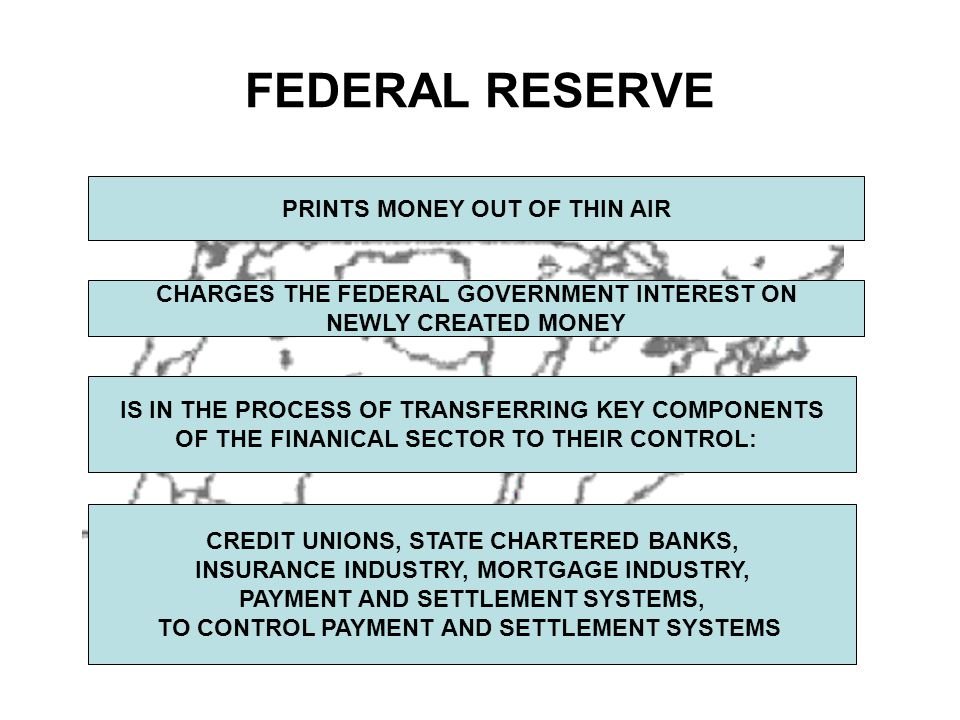 FEDERAL RESERVE PRINTS MONEY OUT OF THIN AIR CHARGES THE FEDERAL GOVERNMENT INTEREST ON NEWLY CREATED MONEY IS IN THE PROCESS OF TRANSFERRING KEY COMPONENTS OF THE FINANICAL SECTOR TO THEIR CONTROL: CREDIT UNIONS, STATE CHARTERED BANKS, INSURANCE INDUSTRY, MORTGAGE INDUSTRY, PAYMENT AND SETTLEMENT SYSTEMS, TO CONTROL PAYMENT AND SETTLEMENT SYSTEMS