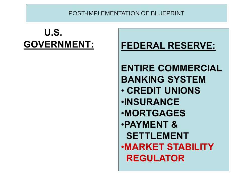 U.S. GOVERNMENT: FEDERAL RESERVE: ENTIRE COMMERCIAL BANKING SYSTEM CREDIT UNIONS INSURANCE MORTGAGES PAYMENT & SETTLEMENT MARKET STABILITY REGULATOR P