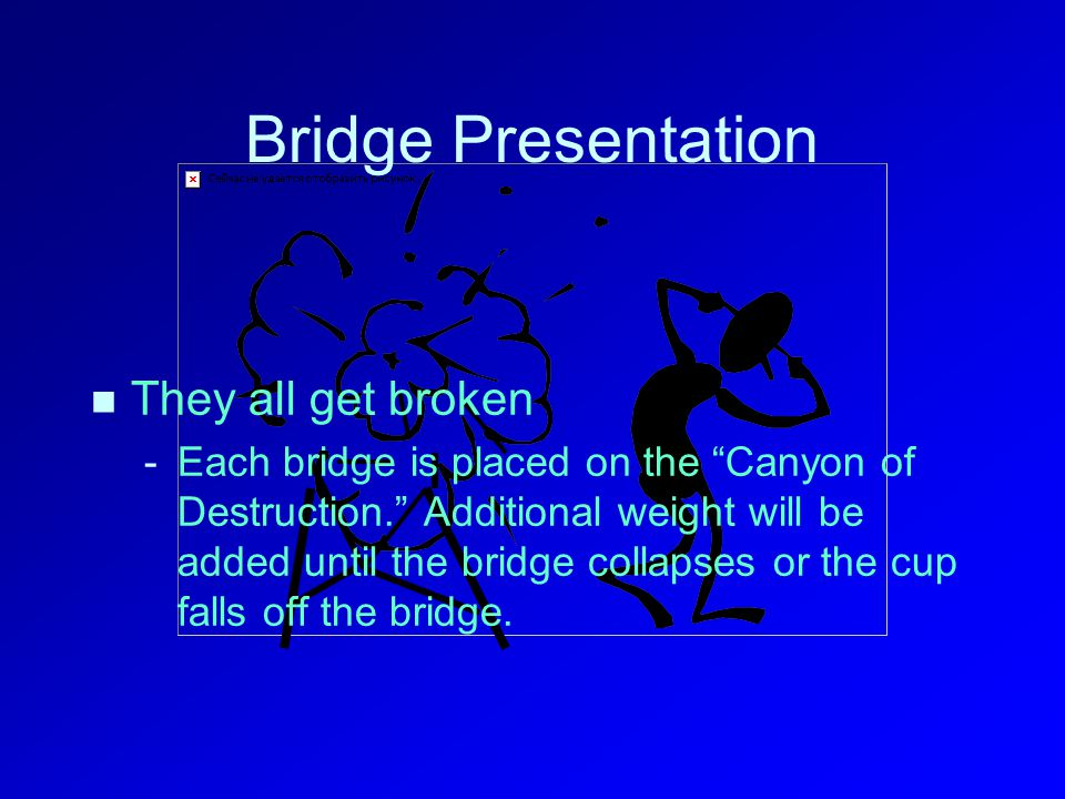 Bridge Presentation They all get broken - -Each bridge is placed on the Canyon of Destruction. Additional weight will be added until the bridge collapses or the cup falls off the bridge.