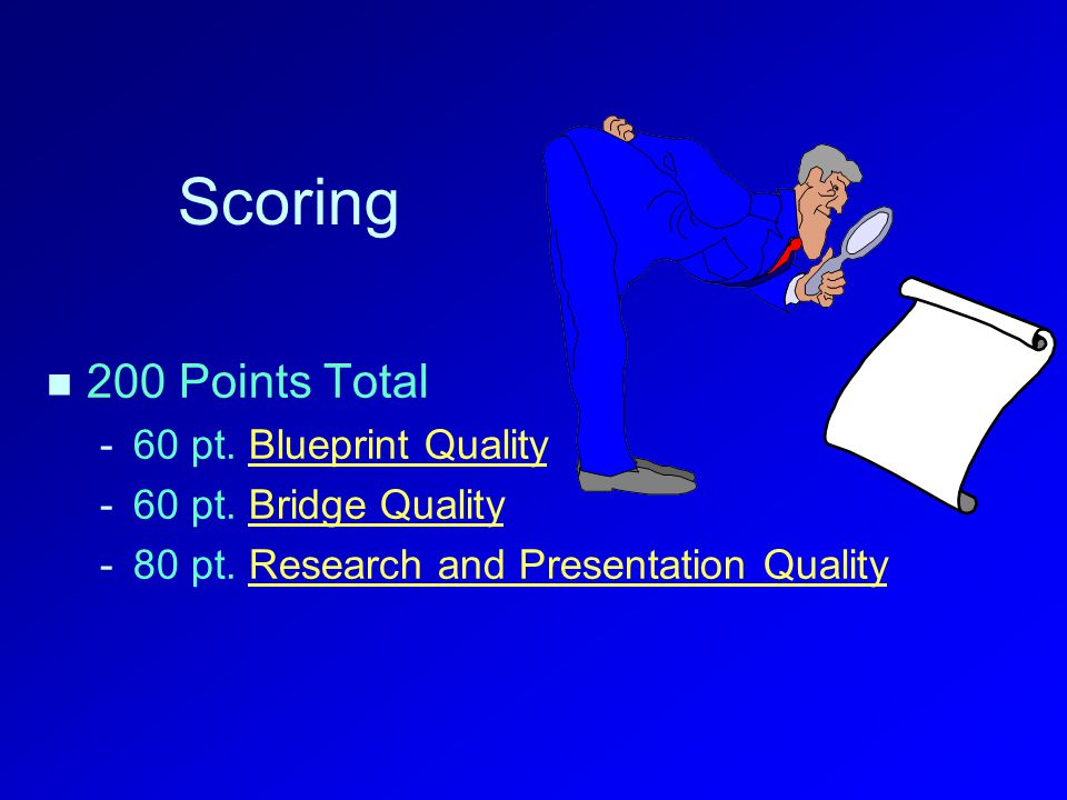 Scoring 200 Points Total - -60 pt. Blueprint QualityBlueprint Quality - -60 pt.