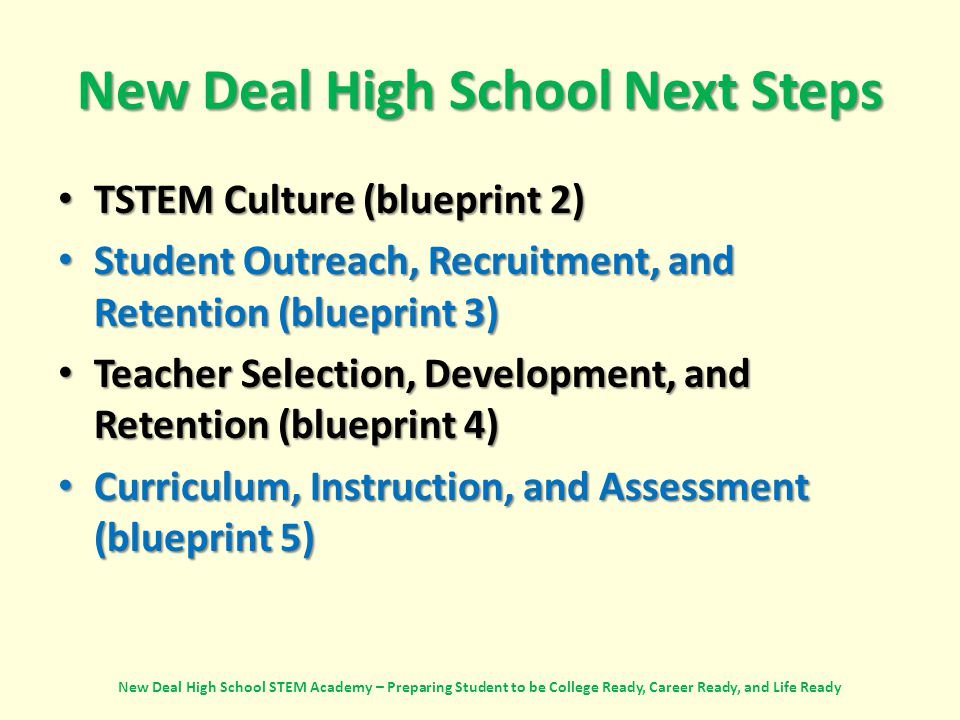New Deal High School Next Steps TSTEM Culture (blueprint 2) TSTEM Culture (blueprint 2) Student Outreach, Recruitment, and Retention (blueprint 3) Student Outreach, Recruitment, and Retention (blueprint 3) Teacher Selection, Development, and Retention (blueprint 4) Teacher Selection, Development, and Retention (blueprint 4) Curriculum, Instruction, and Assessment (blueprint 5) Curriculum, Instruction, and Assessment (blueprint 5) New Deal High School STEM Academy – Preparing Student to be College Ready, Career Ready, and Life Ready