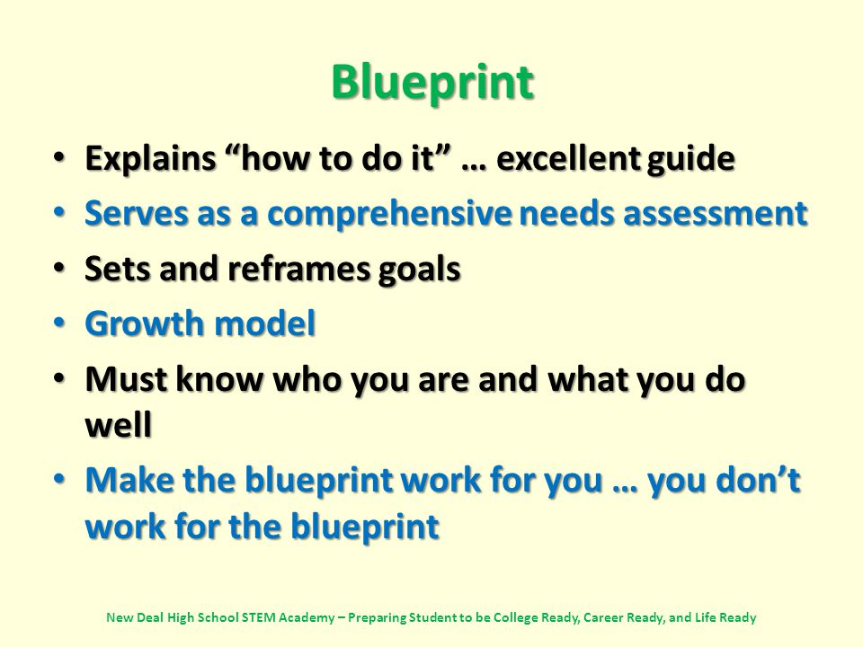 Blueprint Explains how to do it … excellent guide Explains how to do it … excellent guide Serves as a comprehensive needs assessment Serves as a comprehensive needs assessment Sets and reframes goals Sets and reframes goals Growth model Growth model Must know who you are and what you do well Must know who you are and what you do well Make the blueprint work for you … you don't work for the blueprint Make the blueprint work for you … you don't work for the blueprint New Deal High School STEM Academy – Preparing Student to be College Ready, Career Ready, and Life Ready