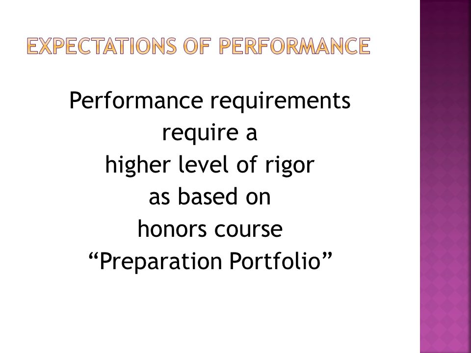 Performance requirements require a higher level of rigor as based on honors course Preparation Portfolio