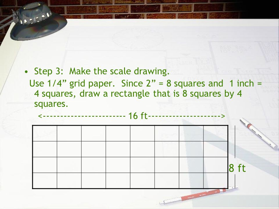Step 2: Find the measure of the garden's width on the drawing. Let w represent the width. drawing width-->.25 in = w inches < --drawing width actual w