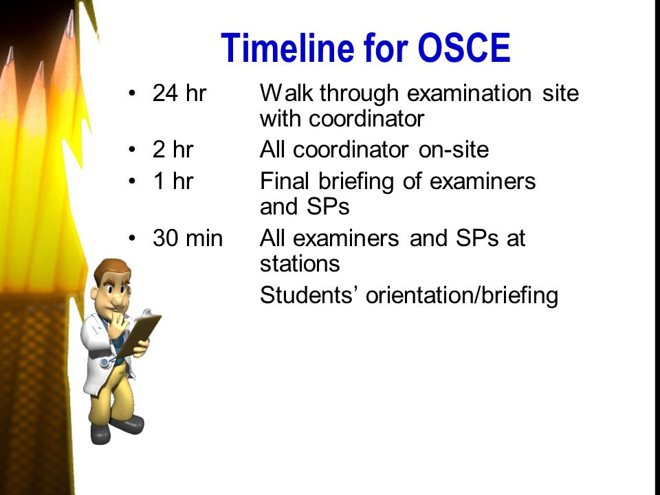Timeline for OSCE 24 hrWalk through examination site with coordinator 2 hrAll coordinator on-site 1 hrFinal briefing of examiners and SPs 30 minAll examiners and SPs at stations Students' orientation/briefing