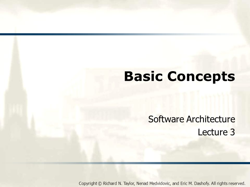 Software Architecture: Foundations, Theory, and Practice Architectural Recovery If architectural degradation is allowed to occur, one will be forced to recover the system's architecture sooner or later Architectural recovery is the process of determining a software system's architecture from its implementation- level artifacts Implementation-level artifacts can be u Source code u Executable files u Java.class files 12