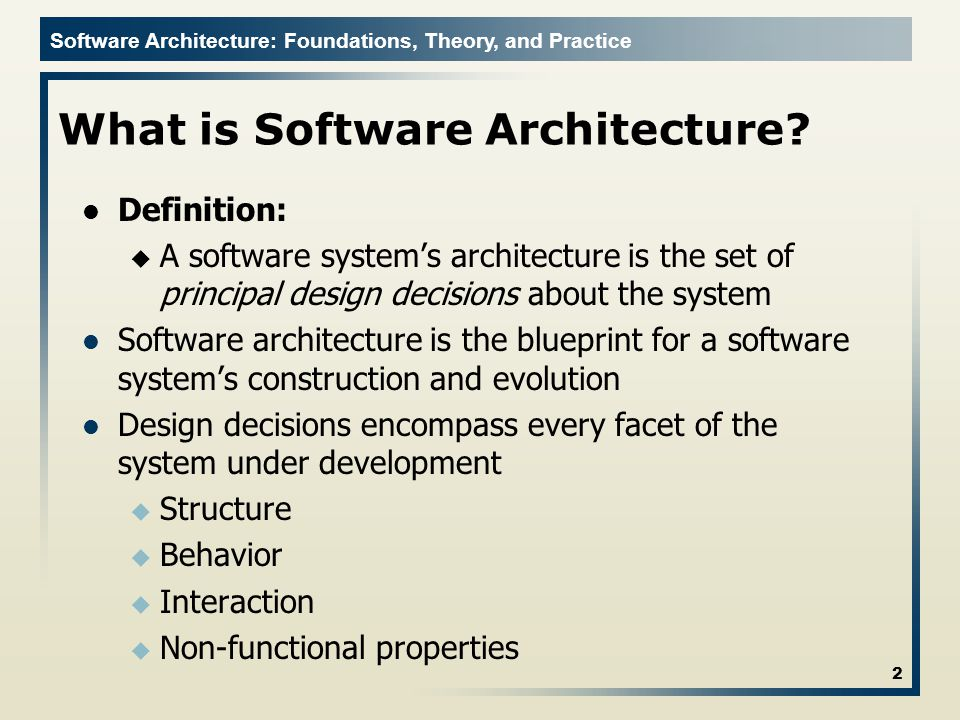 Software Architecture: Foundations, Theory, and Practice What is Software Architecture.