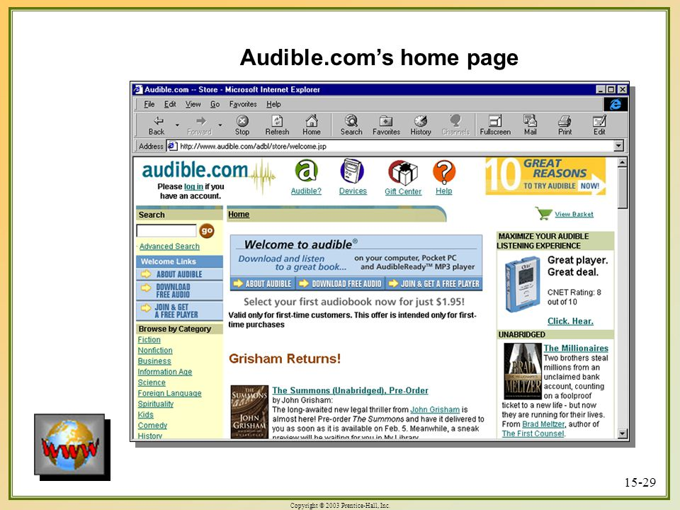 Copyright © 2003 Prentice-Hall, Inc. 15-29 Audible.com's home page